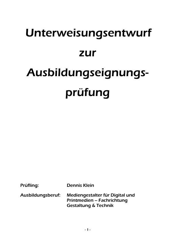 Titel: Revisionsmuster erstellen und prüfen - 3. Ausbildungsjahr (Unterweisung Mediengestalter / -in für Digital- und Printmedien, Fachrichtung Gestaltung & Technik)