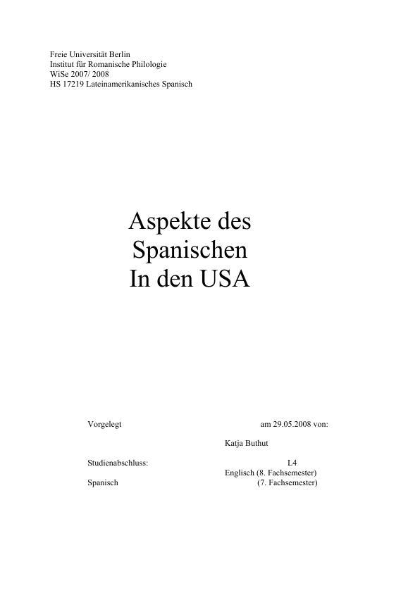 Titel: Aspekte des Spanischen in den USA