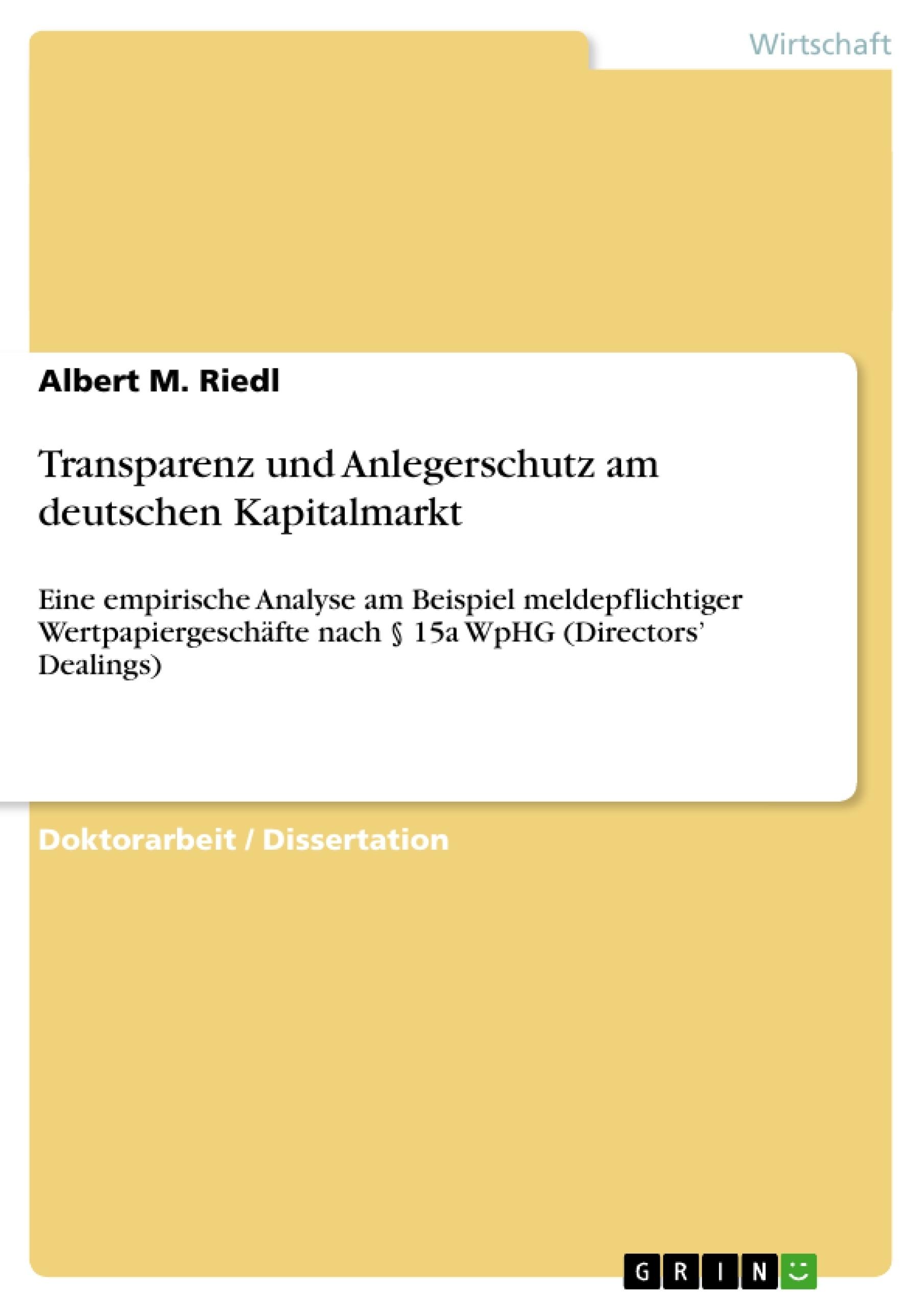 Titel: Transparenz und Anlegerschutz am deutschen Kapitalmarkt