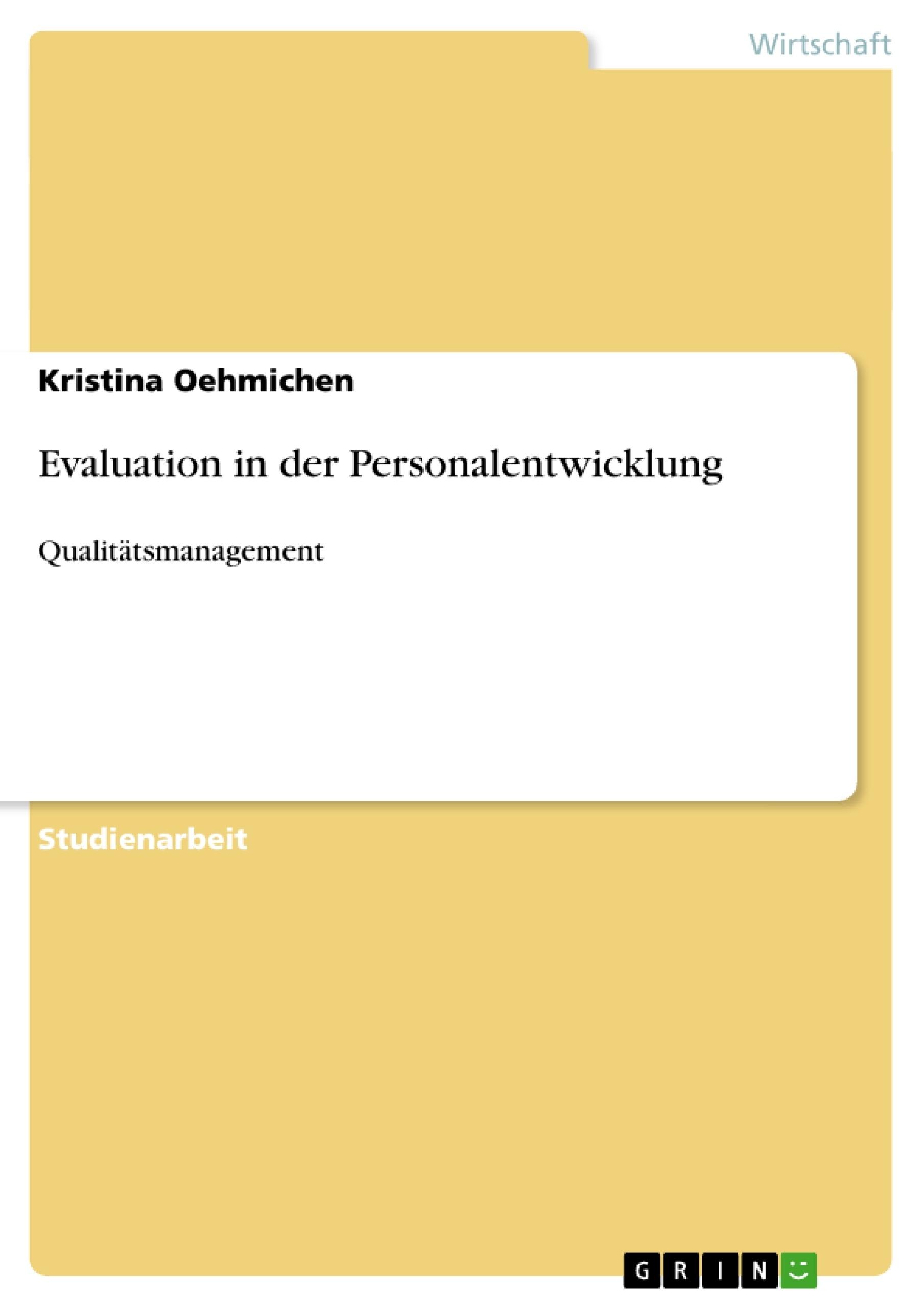 Titel: Evaluation in der Personalentwicklung