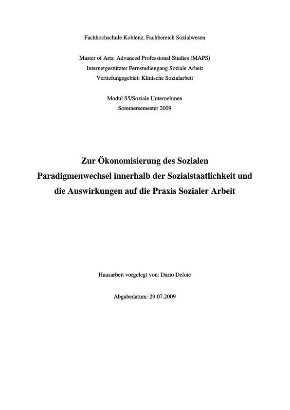 Titel: Zur Ökonomisierung des Sozialen