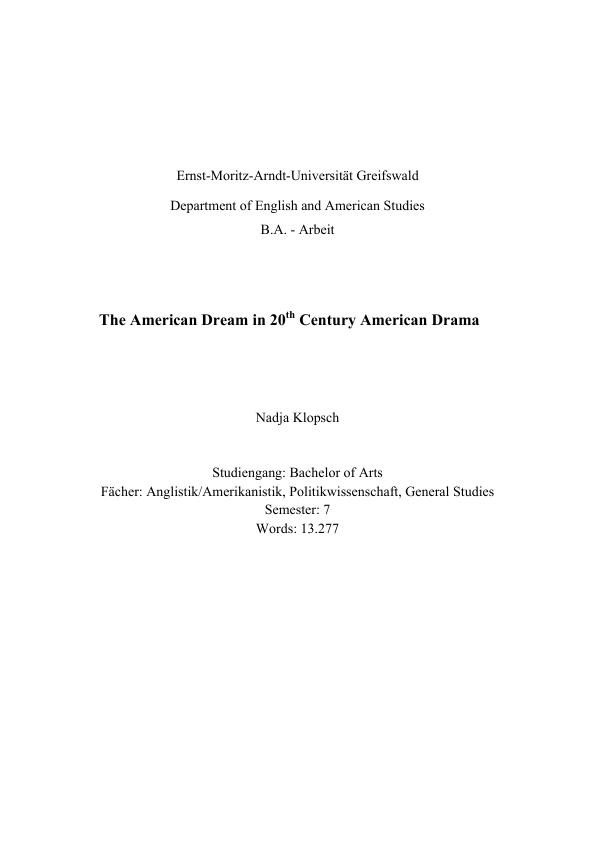 The American Dream in 20th Century American Drama | Hausarbeiten ...