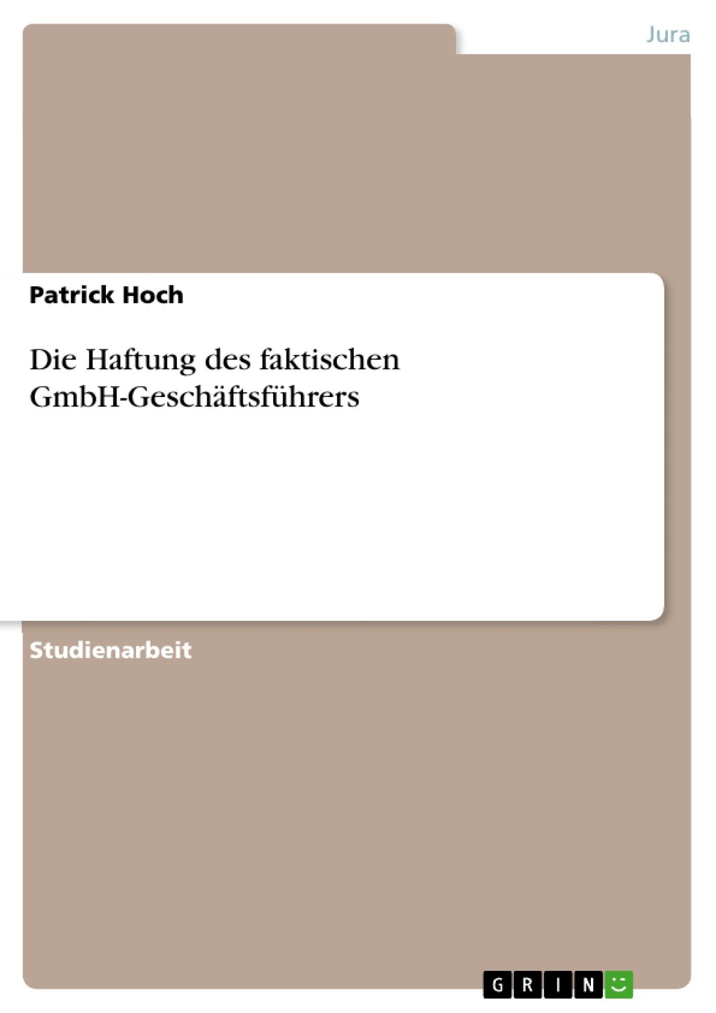 Titel: Die Haftung des faktischen GmbH-Geschäftsführers