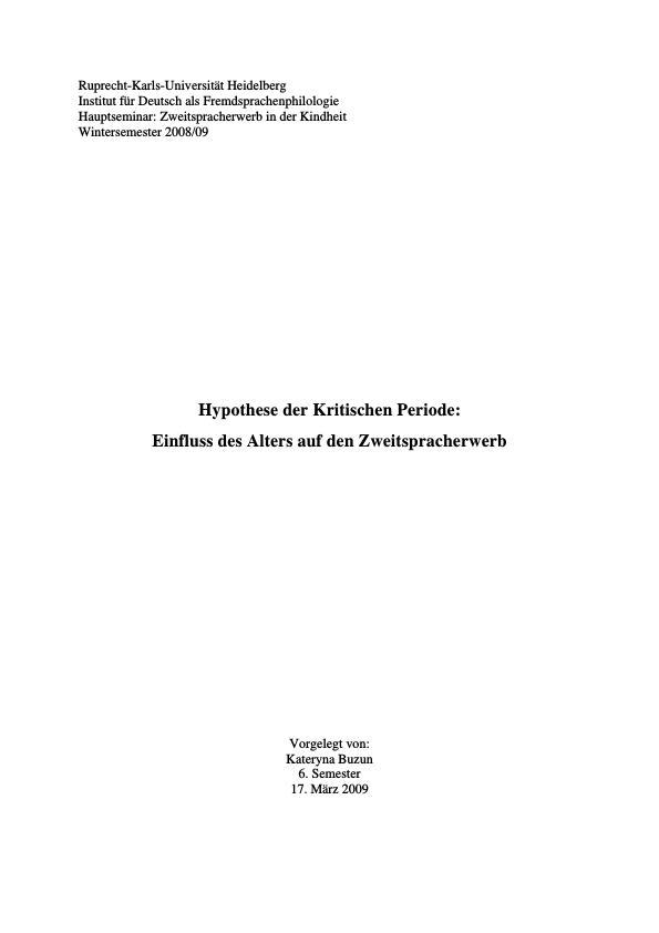 Titel: Hypothese der Kritischen Periode