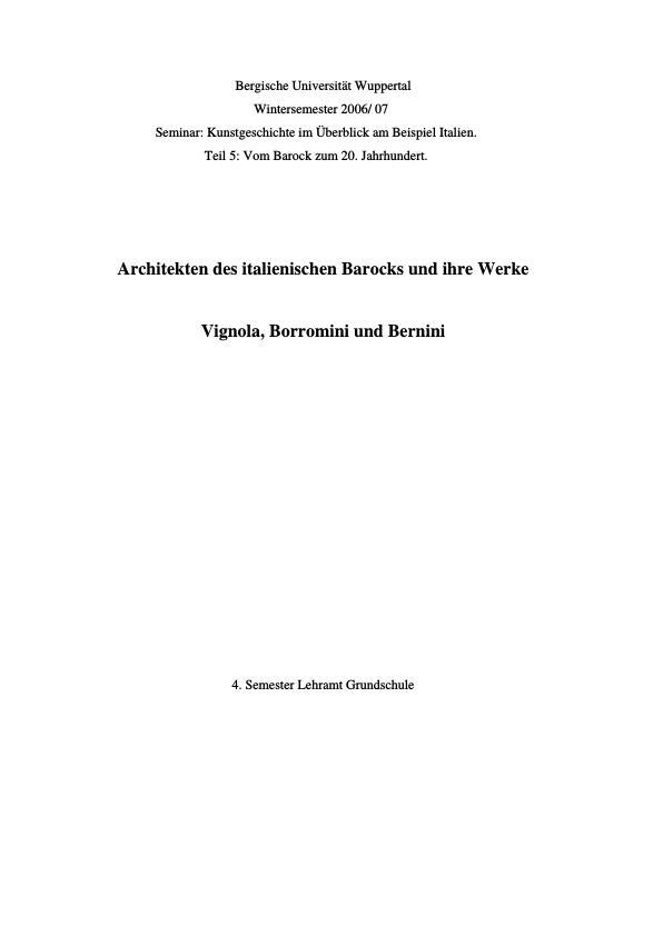 Titel: Architekten des italienischen Barocks und ihre Werke