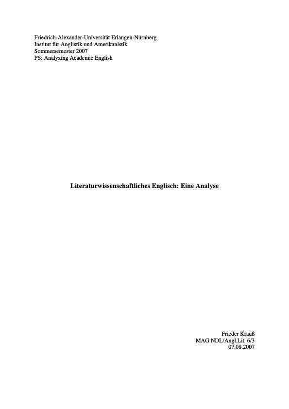 Titel: Literaturwissenschaftliches Englisch: Eine Analyse