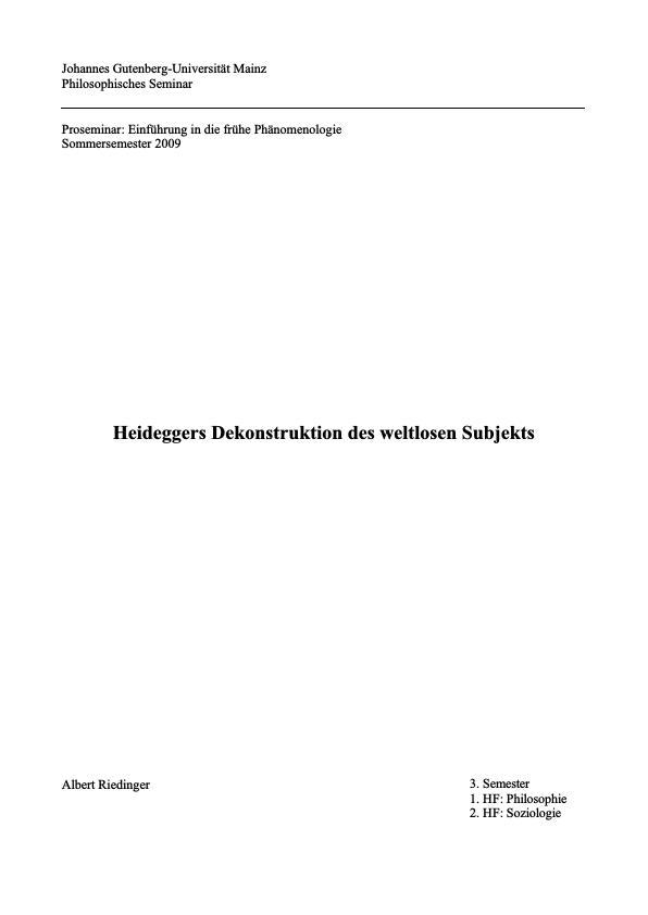 Titel: Heideggers Dekonstruktion des weltlosen Subjekts