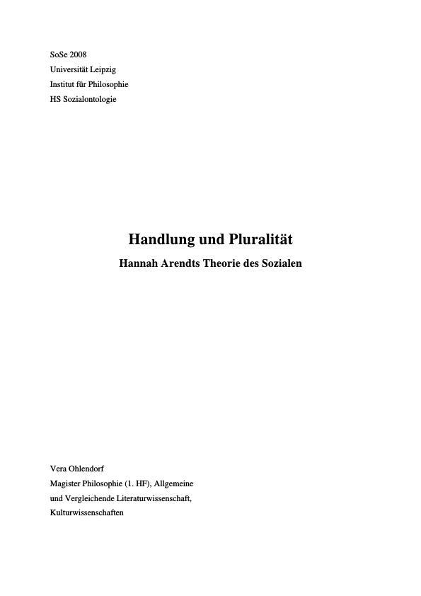 Titel: Handlung und Pluralität