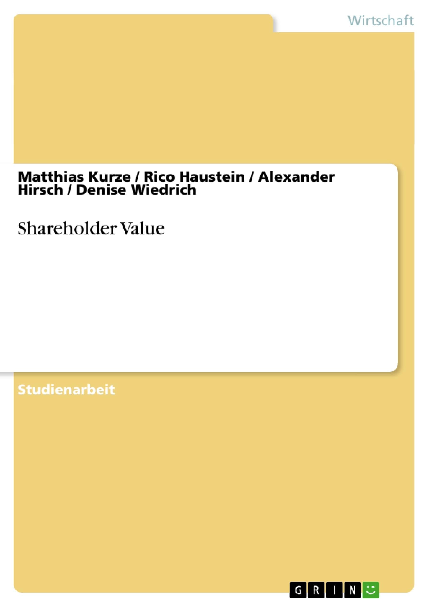 Titel: Shareholder Value