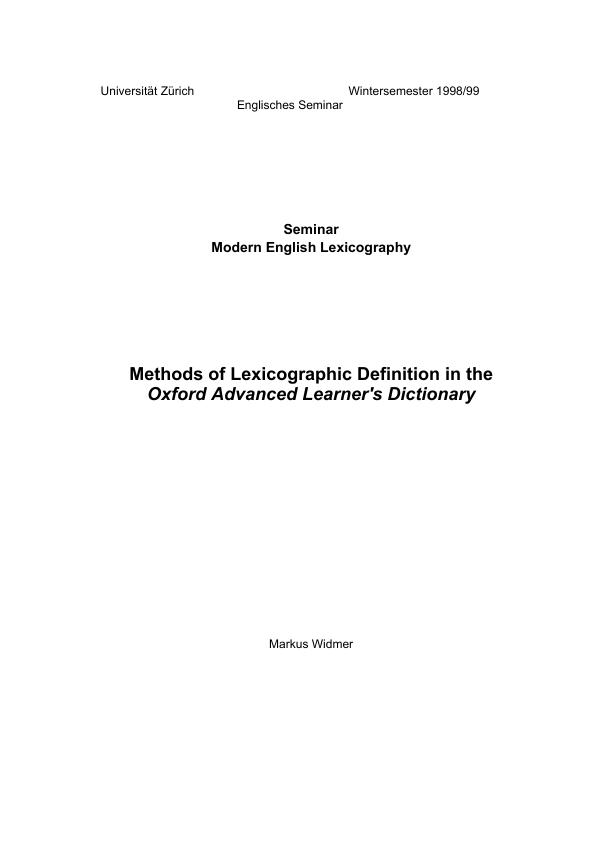 Title: Methods of Lexicographic Definition in the Oxford Advanced Learners Dictionary