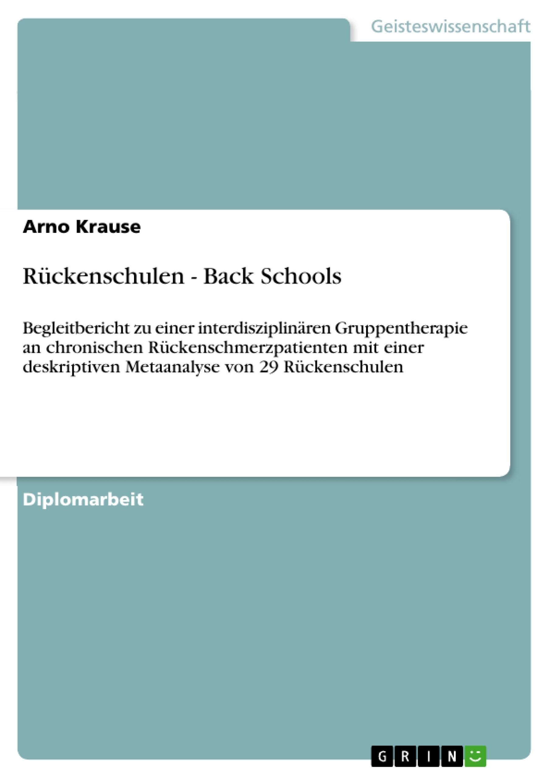 Titel: Rückenschulen - Back Schools