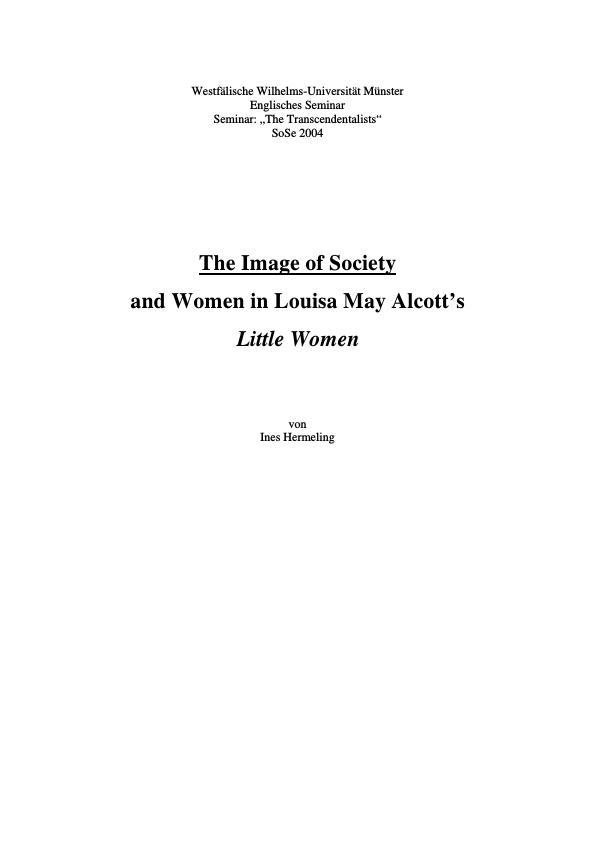 """Title: The Image of Society and Women in Louisa May Alcott's """"Little Women"""""""
