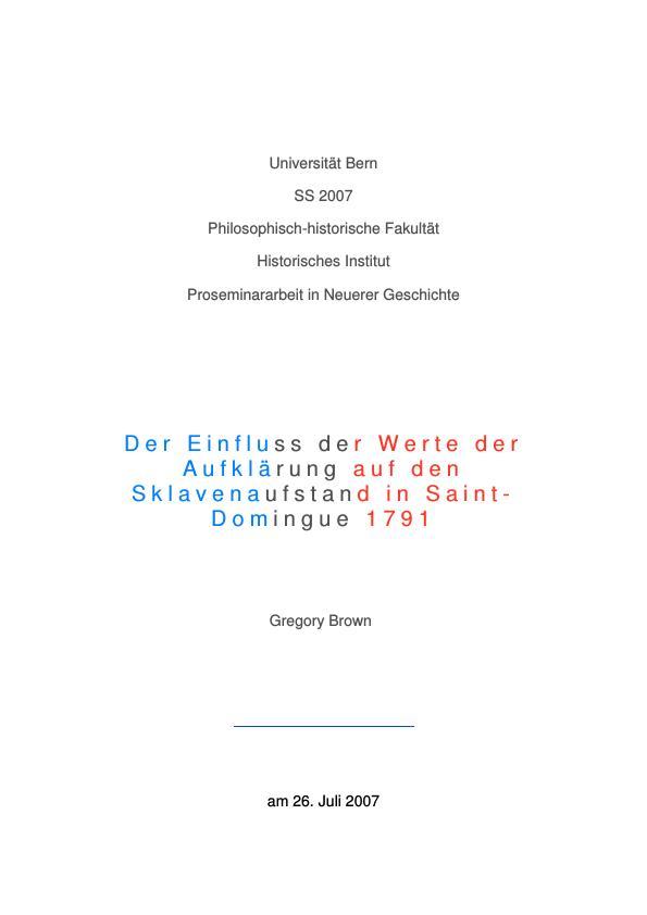 Titel: Der Einfluss der Werte der Aufklärung auf den Sklavenaufstand in Saint-Domingue 1791