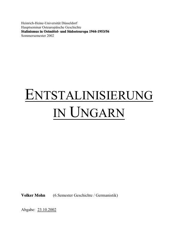 Titel: Entstalinisierung in Ungarn