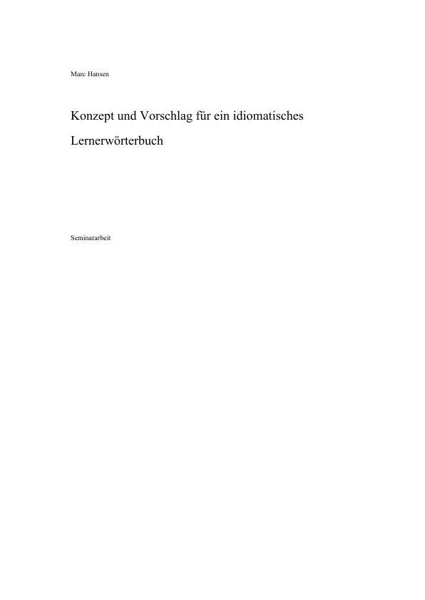 Titel: Konzept und Vorschlag für ein japanisches idiomatisches  Lernerwörterbuch