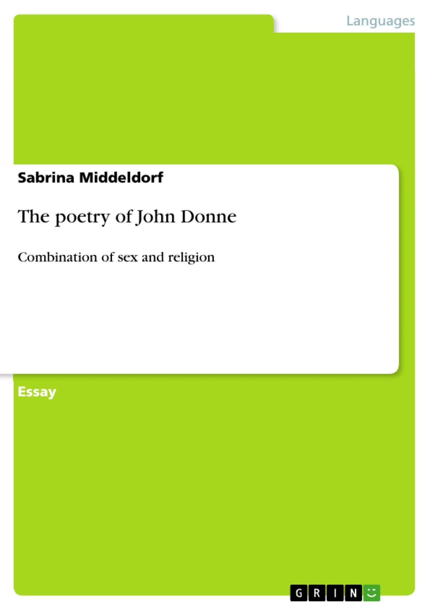 Title: The poetry of John Donne