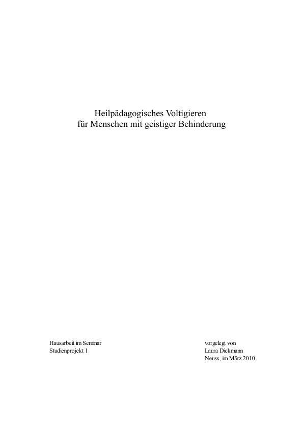 Titel: Heilpädagogisches Voltigieren für Menschen mit geistiger Behinderung