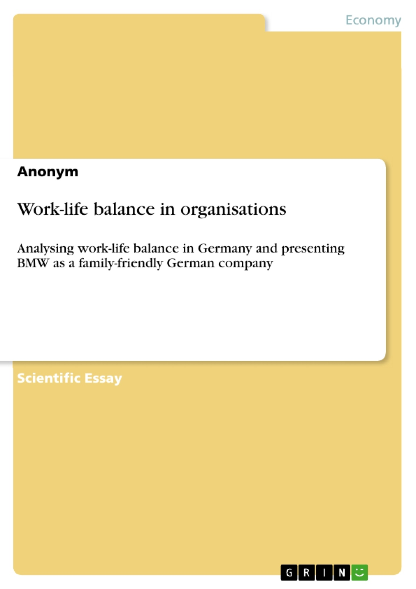 Title: Work-life balance in organisations