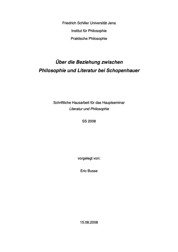 Titel: Über die Beziehung zwischen Philosophie und Literatur bei Schopenhauer