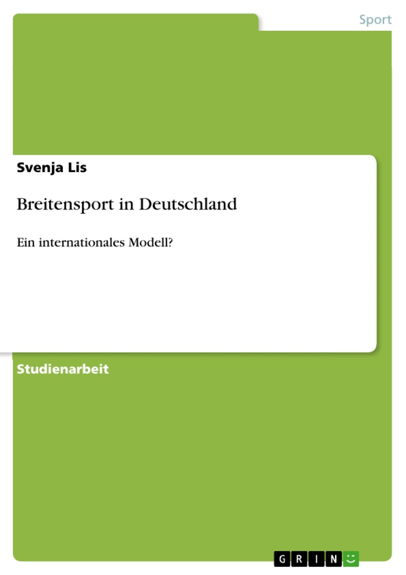 Titel: Breitensport in Deutschland