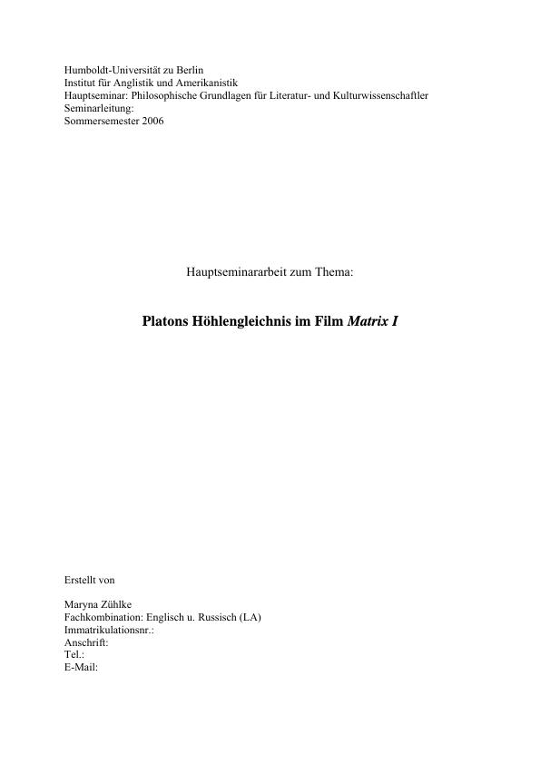 Titel: Platons Höhlengleichnis im Film Matrix I