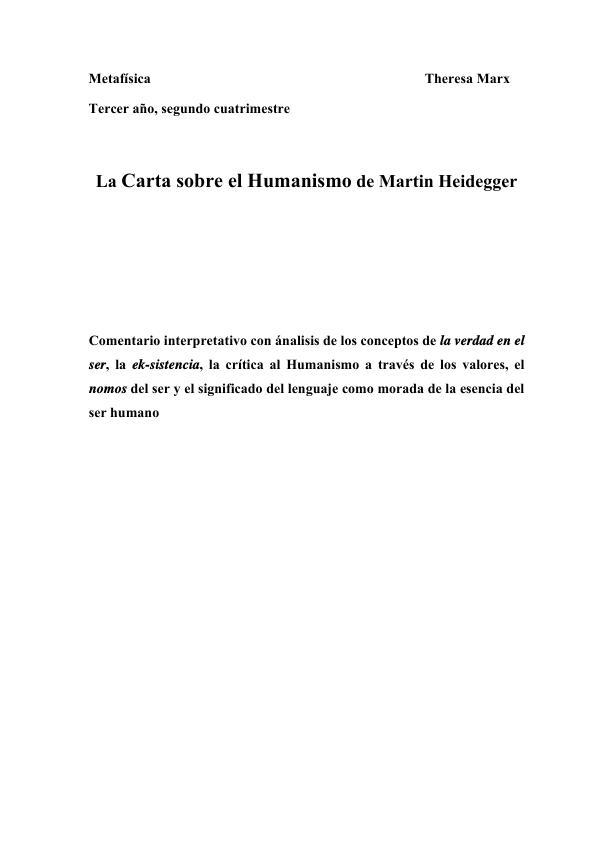 Título: Analisis de la Carta sobre el Humanismo de Heidegger