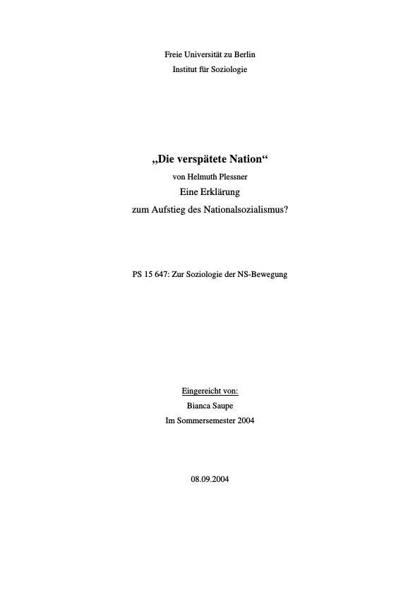 "Titel: Analyse Helmut Plessners ""Die verspätete Nation"""