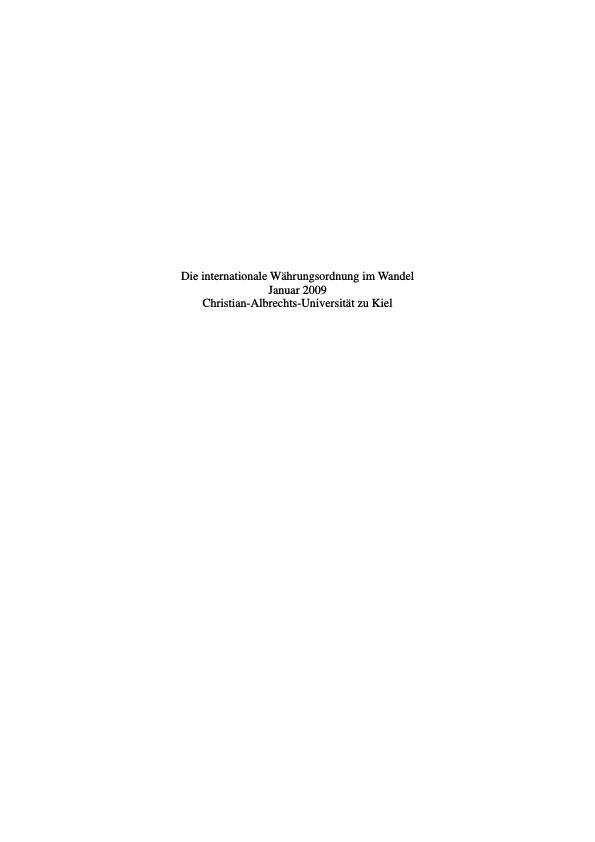 Titel: Die internationale Währungsordnung im Wandel