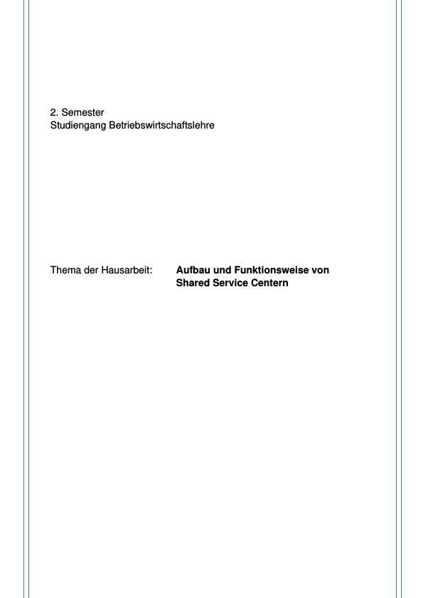 Titel: Aufbau und Funktionsweise eines Shared Service Centers
