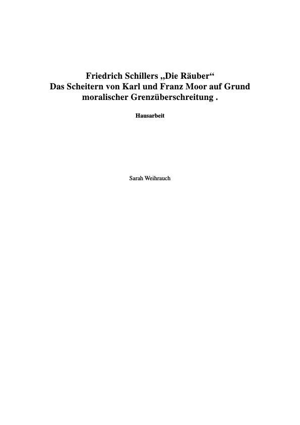"""Titel: Analyse von Friedrich Schillers """"Die Räuber"""""""