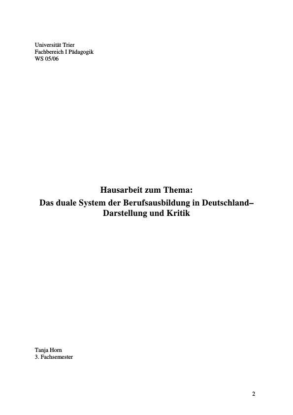 Titel: Das duale System der Berufsausbildung in Deutschland - Darstellung und Kritik