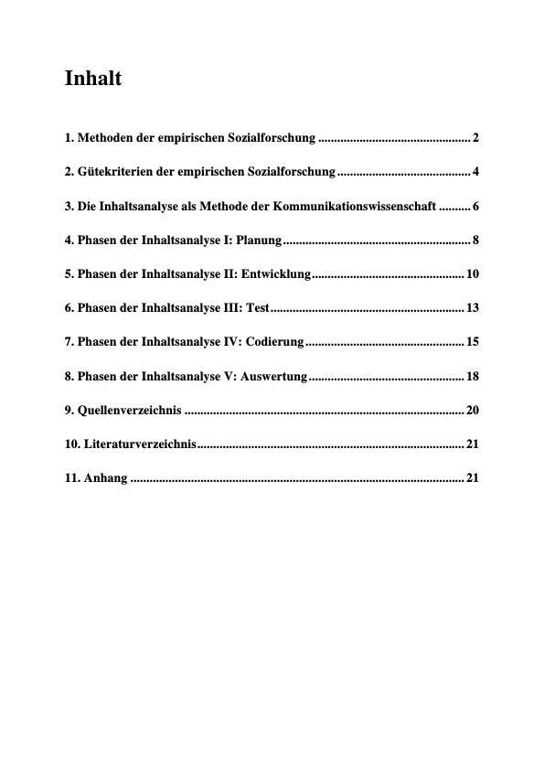 Titel: Die Methodik der Inhaltsanalyse und ihre einzelnen Phasen