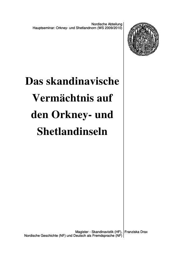 Titel: Das skandinavische Vermächtnis auf den Orkney- und Shetlandinseln
