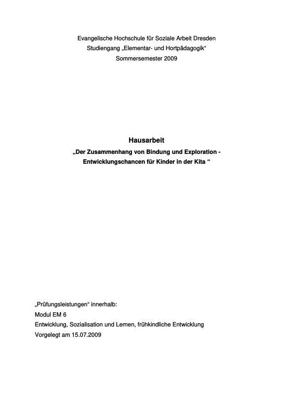 Titel: Der Zusammenhang von Bindung und Exploration
