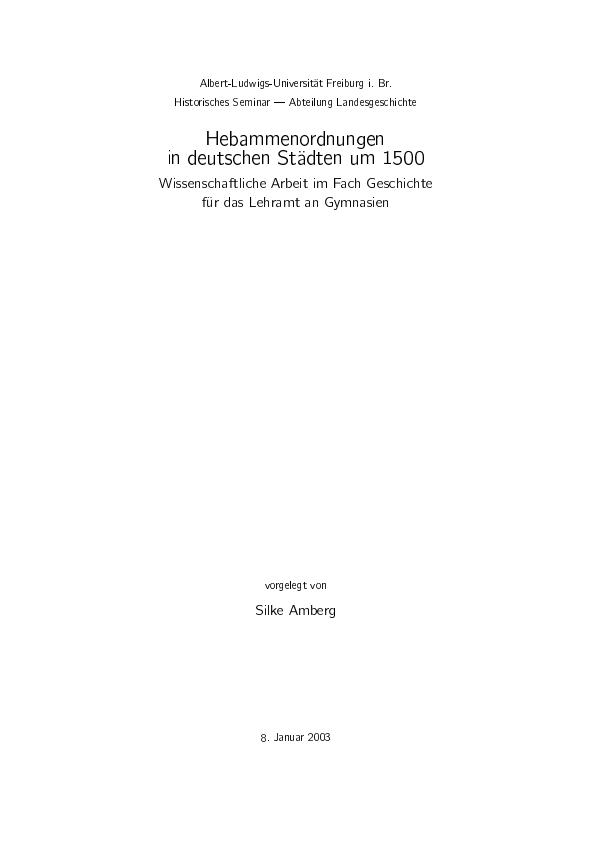 Titel: Hebammenordnungen in deutschen Städten um 1500