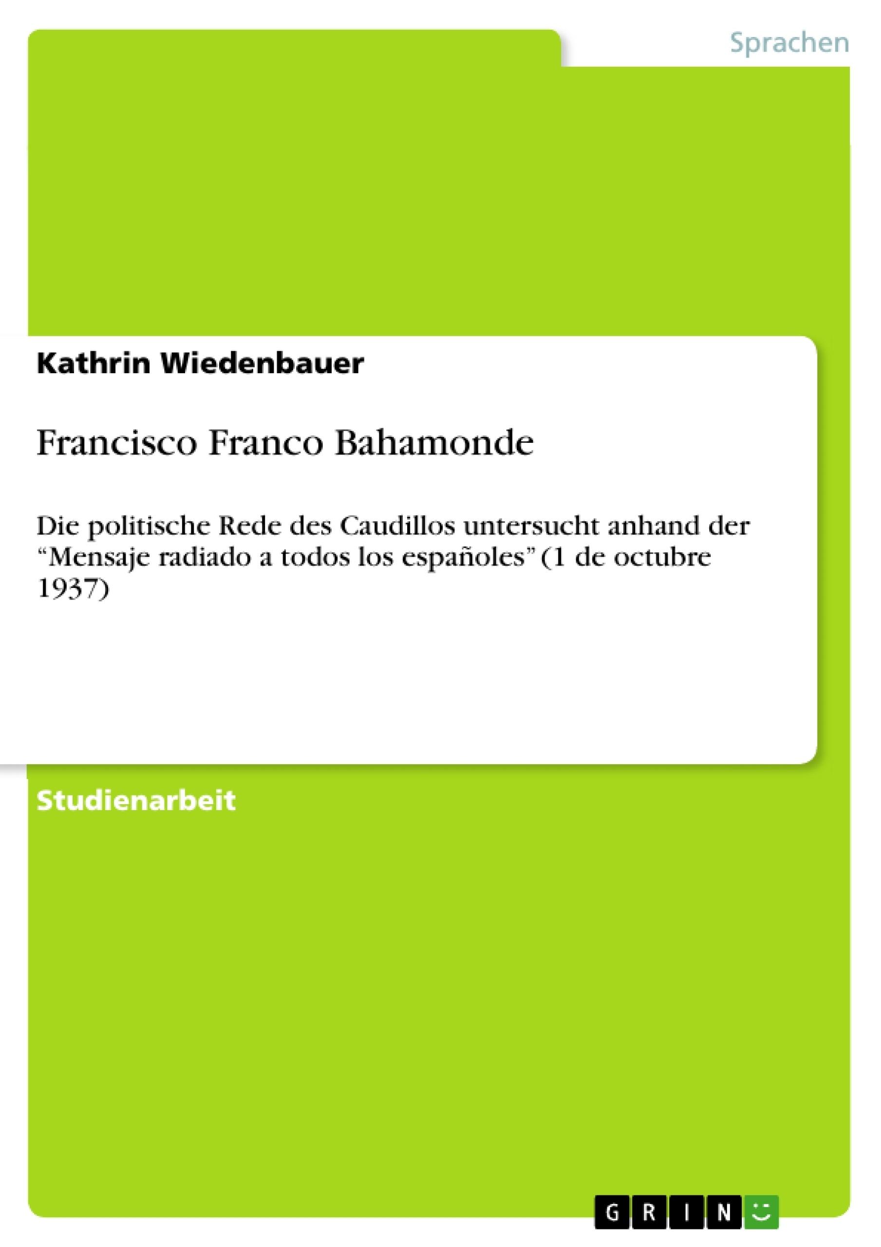 Titel: Francisco Franco Bahamonde