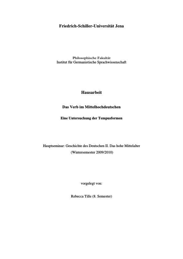Titel: Das mittelhochdeutsche Verb - Eine Untersuchung der Tempusformen