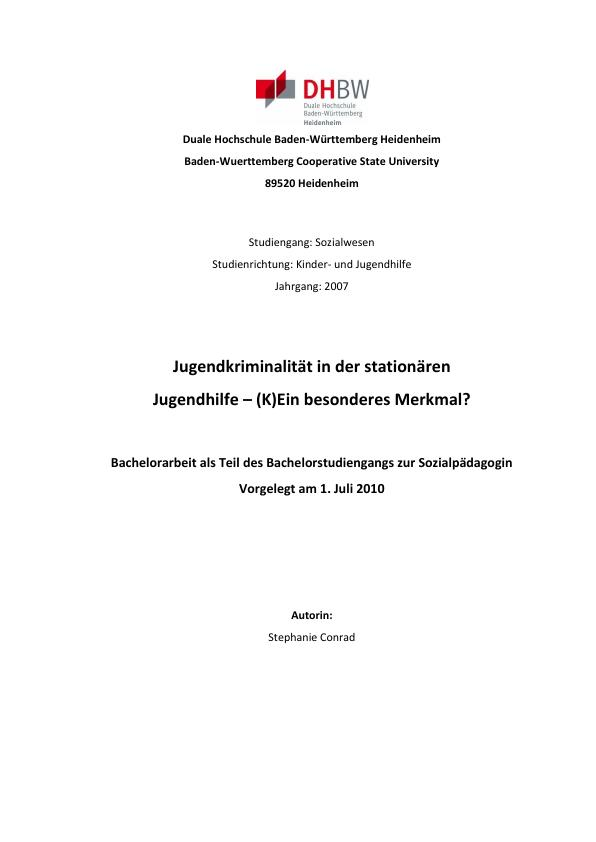 Titel: Jugendkriminalität in der stationären Jugendhilfe - (K)Ein besonderes Merkmal?