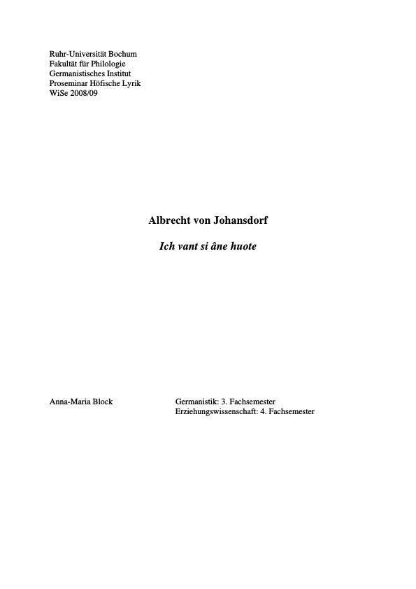 """Titel: Analyse """"Ich vant si âne huote"""" von Albrecht von Johansdorf"""