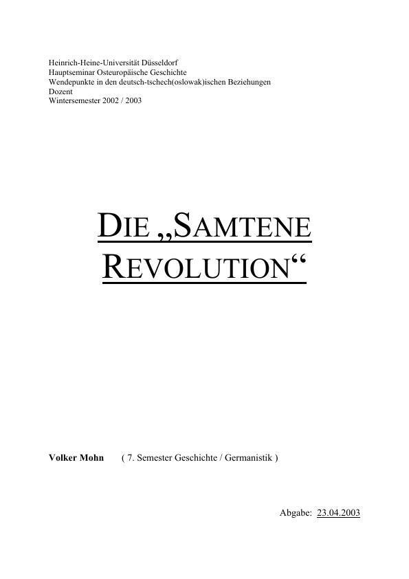 """Titel: Die """"Samtene Revolution"""""""