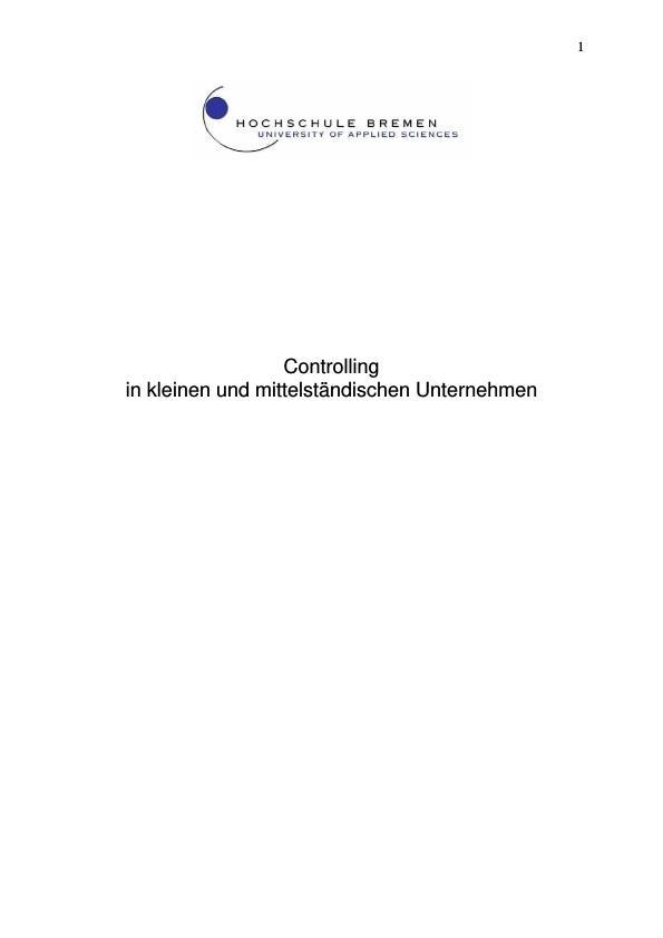 Titel: Controlling  in kleinen und mittelständischen Unternehmen