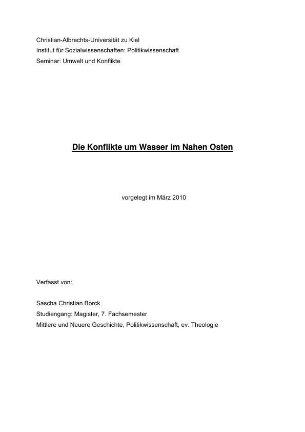 Titel: Die Konflikte um Wasser im Nahen Osten