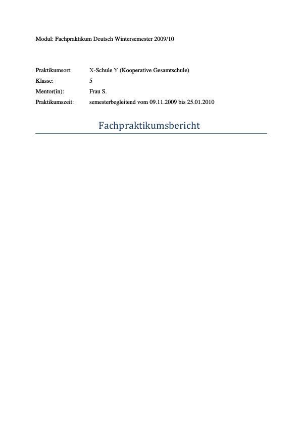 Titel: Märchen im Deutschunterricht. Bericht über das Fachpraktikum an Realschulen