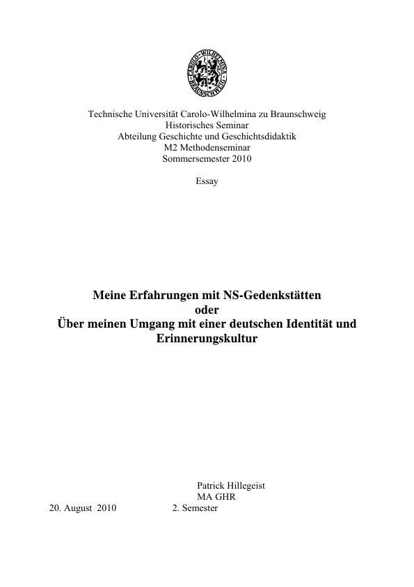 Titel: Meine Erfahrungen mit NS-Gedenkstätten