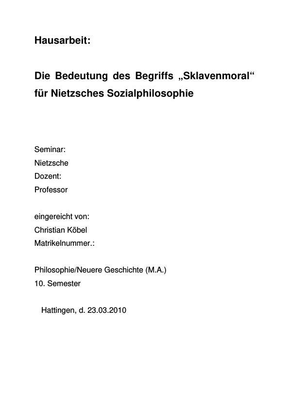"""Titel: Die Bedeutung des Begriffs """"Sklavenmoral"""" für Nietzsches Sozialphilosophie"""