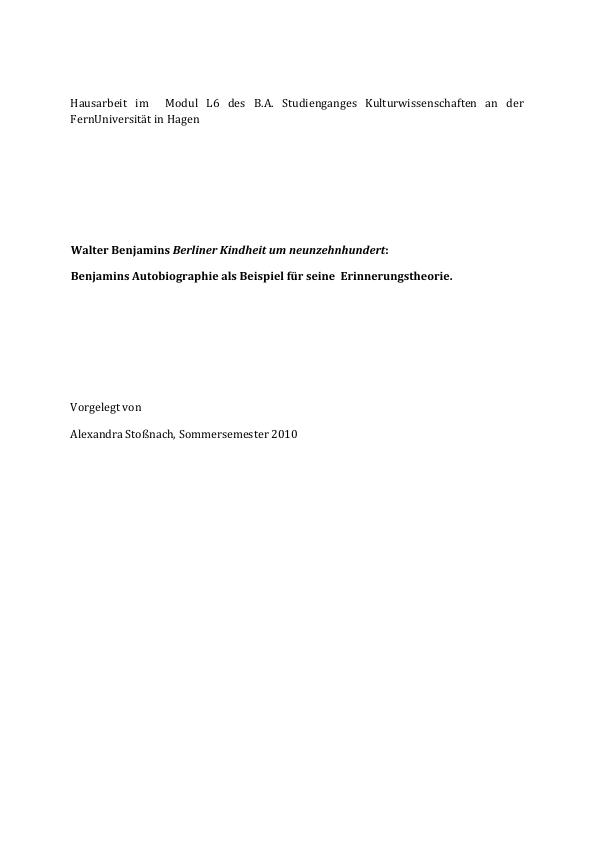 "Titel: Analyse Walter Benjamins ""Berliner Kindheit um neunzehnhundert"""
