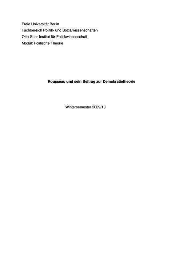 Titel: Rousseau und sein Beitrag zur Demokratietheorie