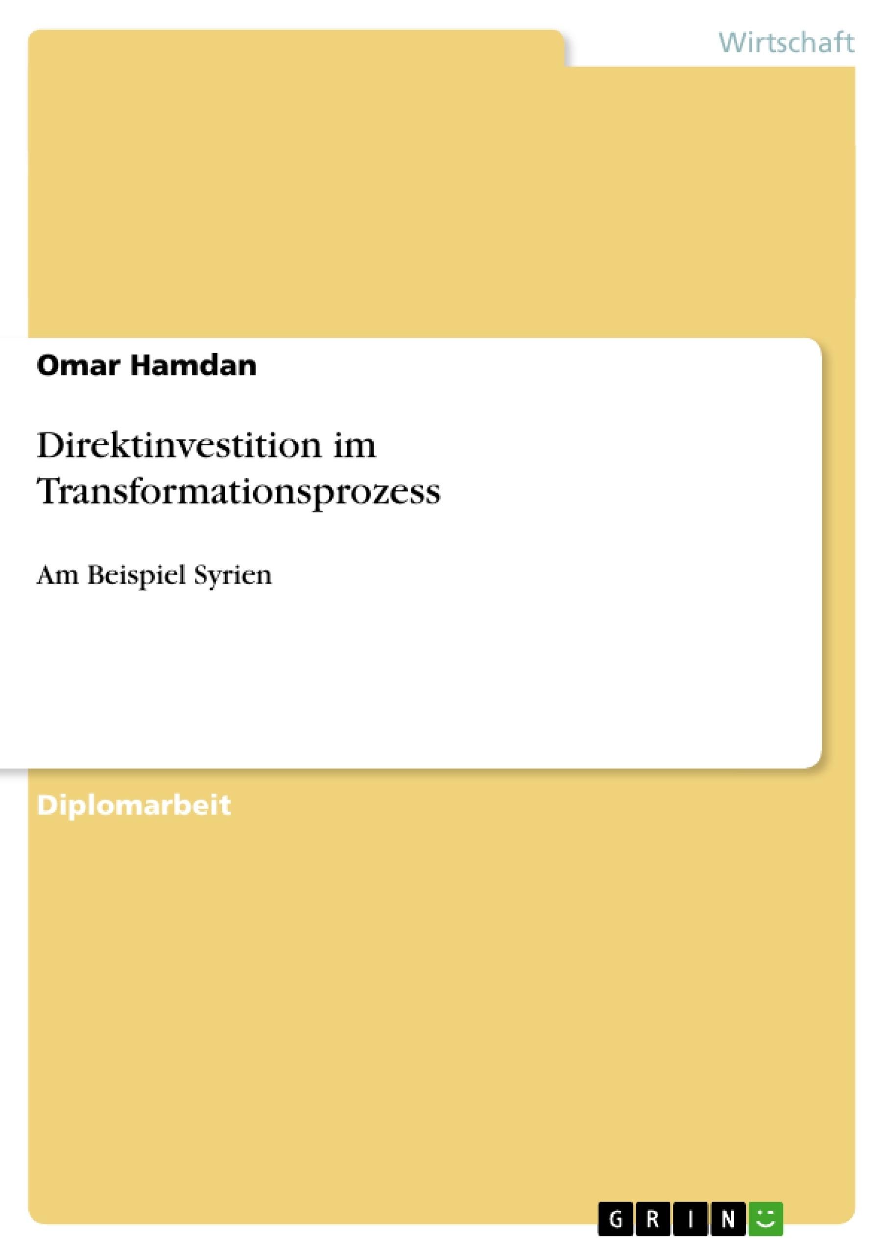 Titel: Direktinvestition im Transformationsprozess