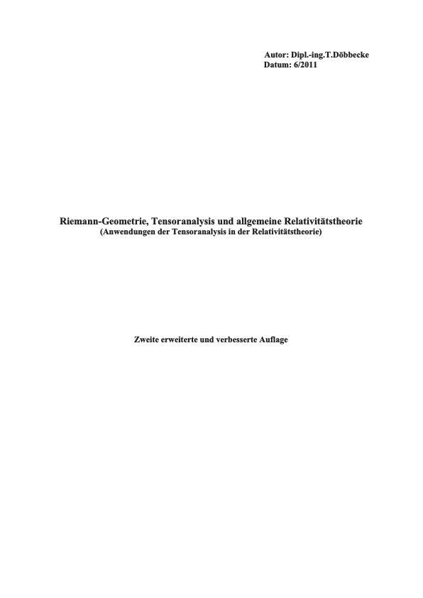Titel: Riemann-Geometrie und allgemeine Relativitätstheorie