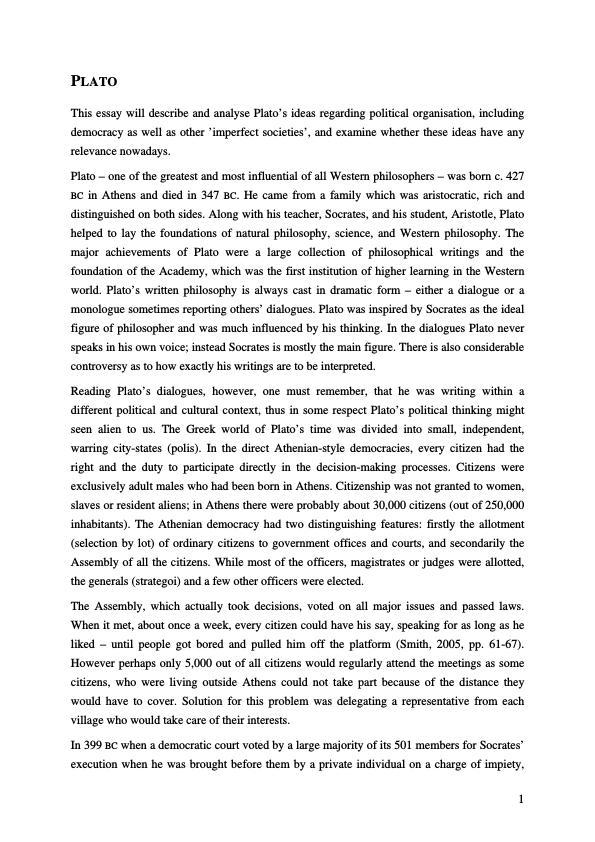 Title: About Plato's ideas regarding political organisation